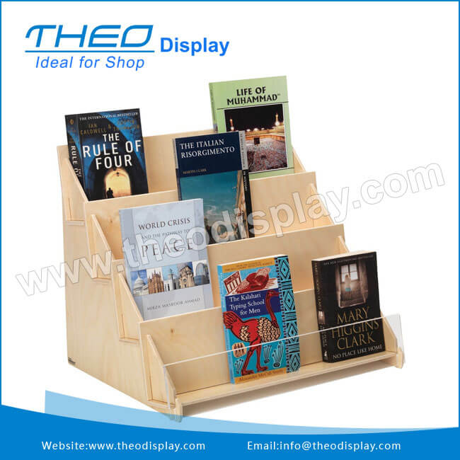 Plywood Four Tier Displayer Literature And Books Tabletop Display Stand