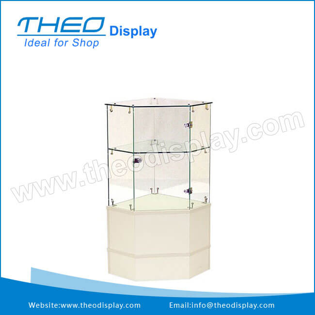 th9003white wooden base and locking glass corner display cabinet