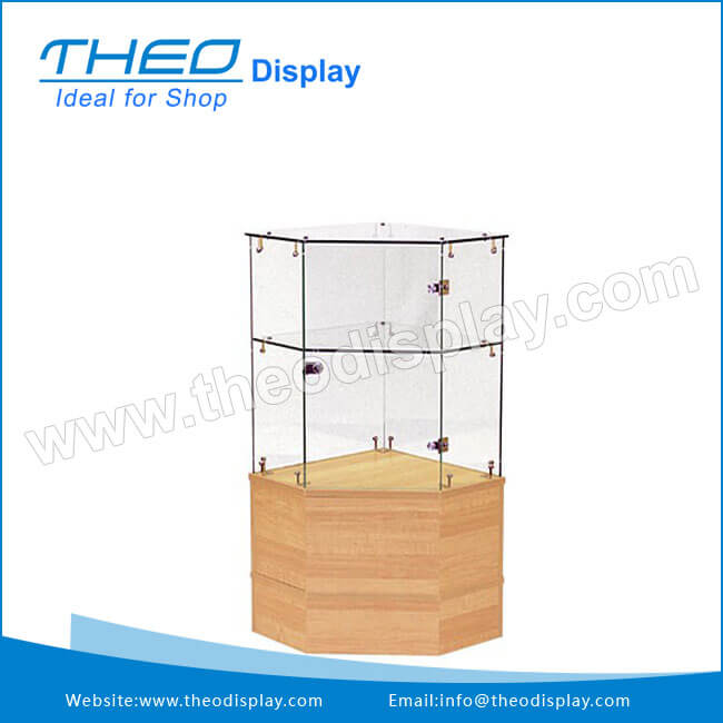 Attrayant TH 900 White Wooden Base And Locking Glass Corner Display Cabinet