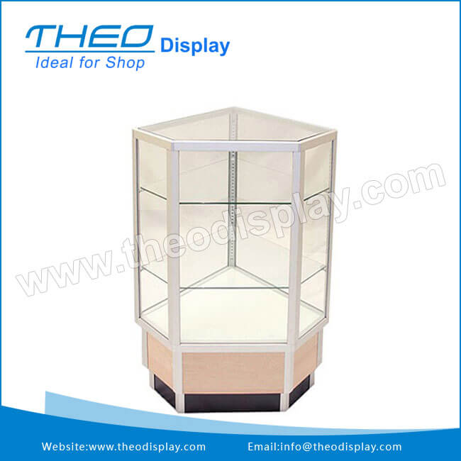 TH 904 Maple Wood Base Full Vision Glass Corner Display Cabinet